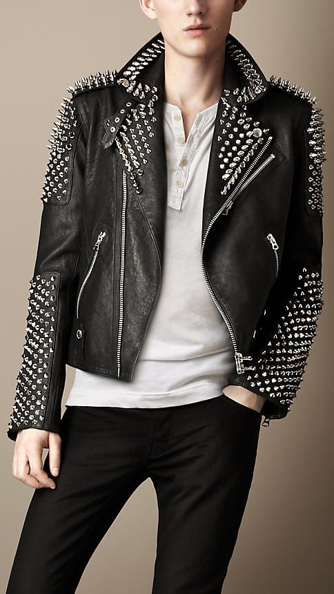 ed9c2a75d Pin by Lookastic on Men's Leather Jackets   Studded leather jacket ...