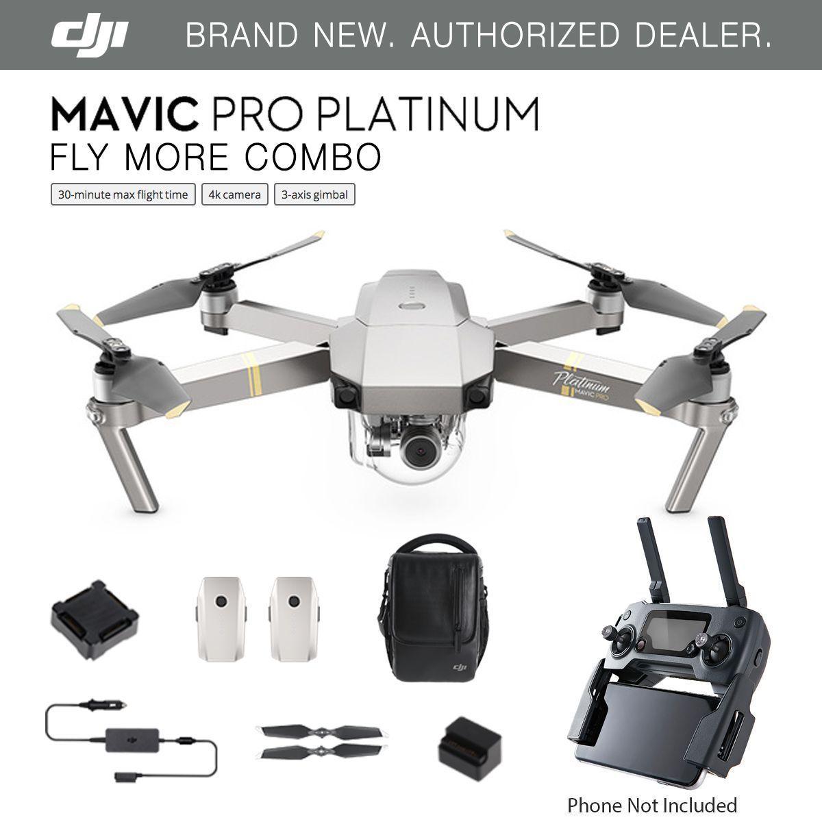 Dji Mavic Pro Platinum Fly More Combo Drone 4k Stabilized Camera Activetrack Ebay Mavic Pro Dji Mavic Pro Mavic
