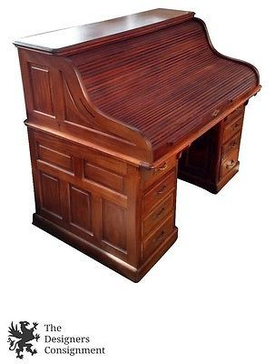 Scarritt Comstock Antique Roll Top Executive Office Desk Mahogany 61 St Louis