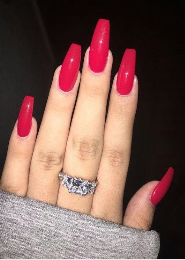 Glossy Red Nails Coffin Pointy