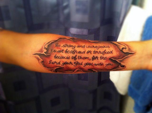 Joshua 1 9 Skin Tear Tattoo Ripped Skin Tattoo Tattoo Quotes