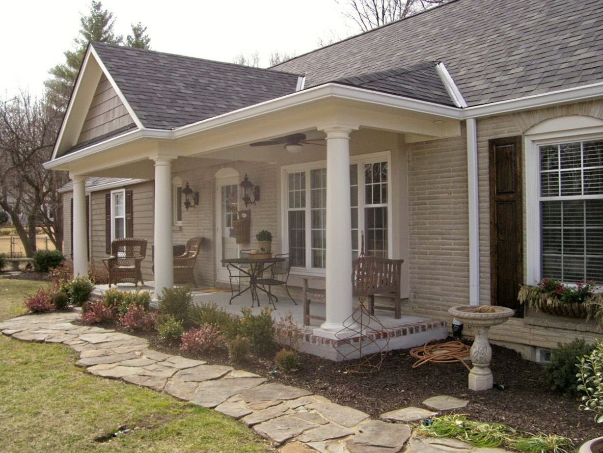 Front porch addition ranch house pinteres for Front porch add ons