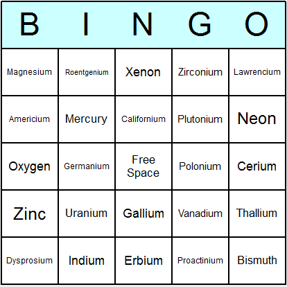 Chemical elements bingo card for am pinterest periodic ancient rome bingo cards printable bingo activity game and templates urtaz Gallery