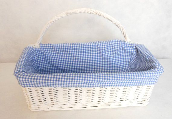 White Wicker Basket W Handle Blue Gingham Removable Lining