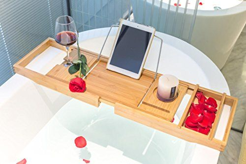 BAMBUROBA Bamboo Bathtub Caddy Tray Organizer with Extend... https ...
