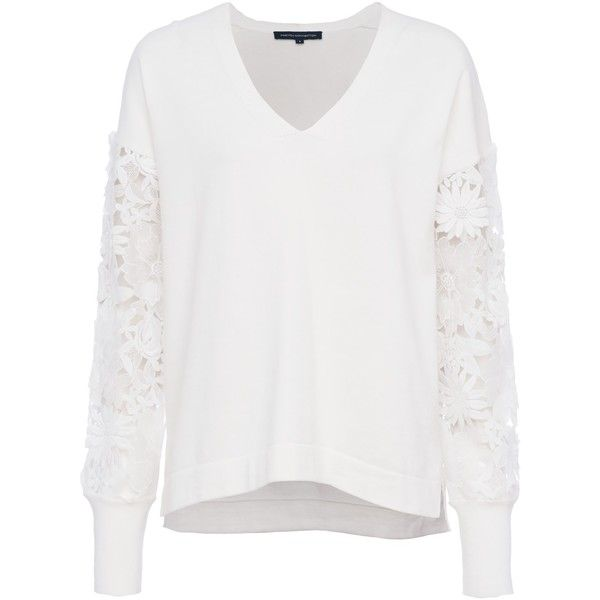 5733682ee1a French Connection Manzoni 3D Floral Lace Sleeved Jumper, Summer White  ($110) ❤ liked on Polyvore featuring tops, floral crop top, white cotton  tops, ...