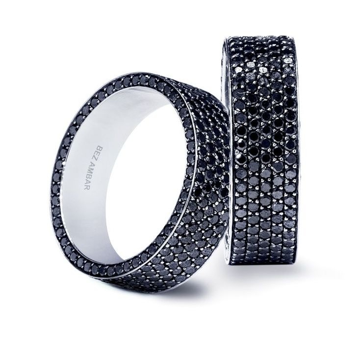 wedding bands for him and her Bez Ambar Black Diamond Wedding