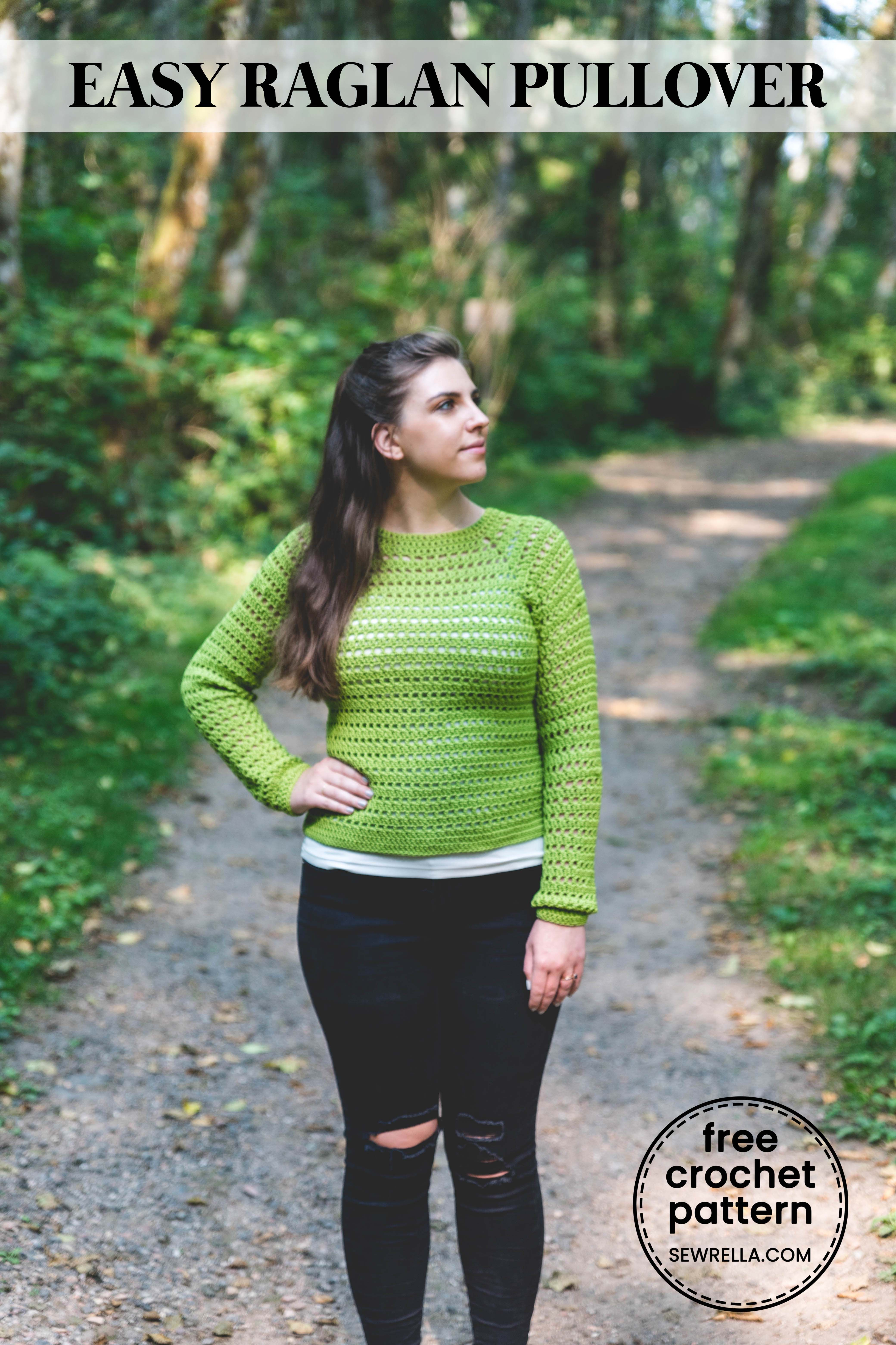 bf774708ffe19 Crochet this simple breezy sweater with raglan shoulder shaping and easy  double crochets. Sizes XS-3XL are included in the free pattern  freepattern  ...