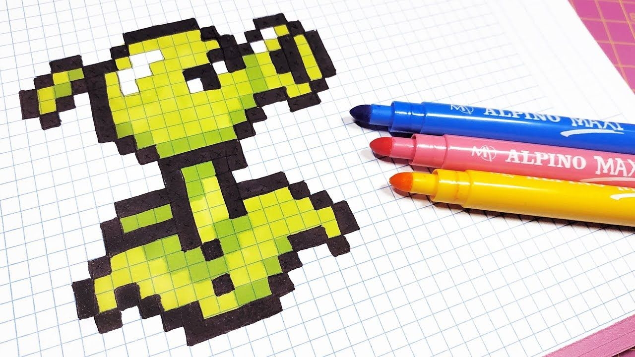 Pixel Art Hecho A Mano Como Dibujar Plants Vs Zombies Pixel Art Anime Pixel Art Pixel Pattern