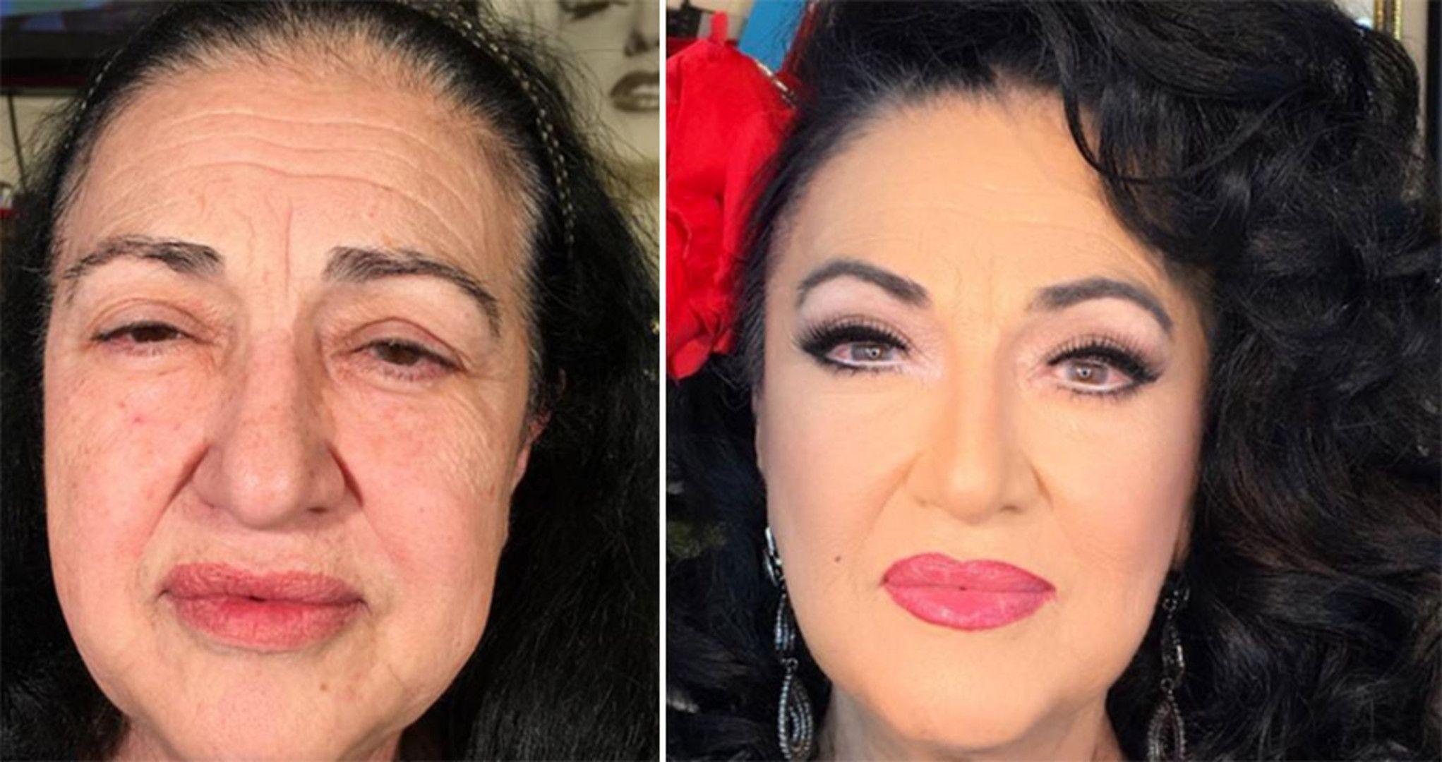 Unglaublicher Wandel Alterer Frauen Mit Make Up Make Up Altere Frauen Alte Frau Schonheit