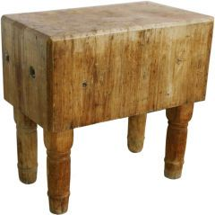 197287 I cut up many chickens on a butcher block like