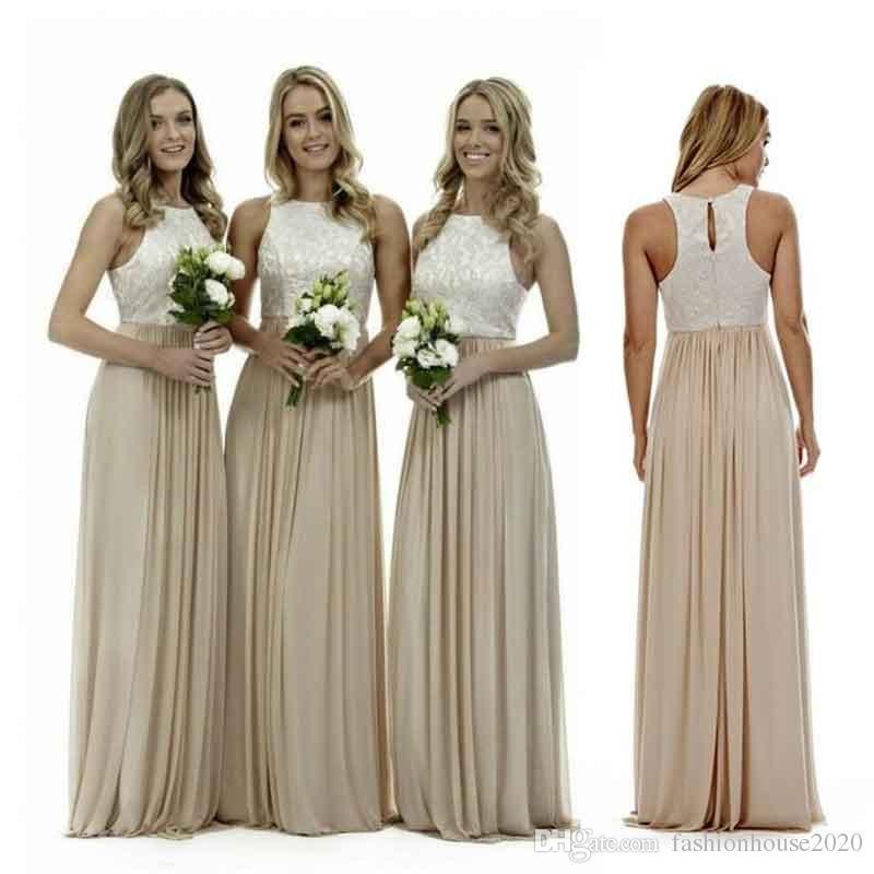 sexy long champagne chiffon bridesmaid dresses lace beach