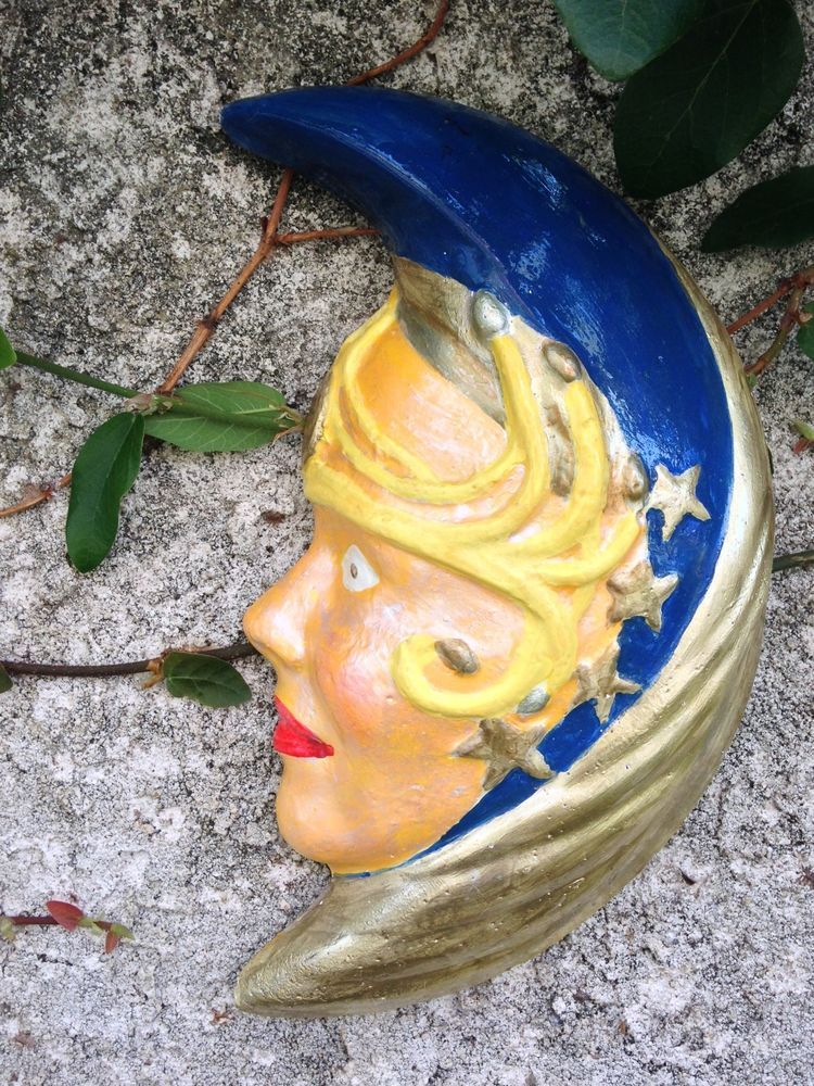 Handcrafted cement blue/yellow/gold moon.half moon wall sculpture ...