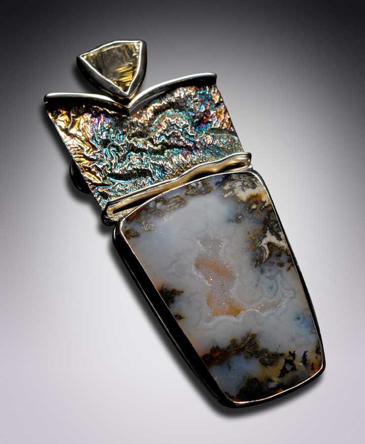 reticulated silver jewelry | ... 11 carat citrine trillant cut, patina reticulated silver Pin/ Pendant