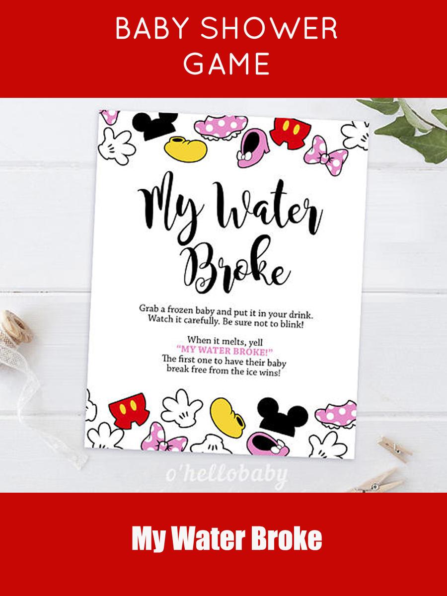 My Water Broke Game| Disney Theme Baby Shower Games| Disney Baby Shower|  Gender