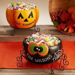 personalized halloween treat bowl with stand halloween decorations - Personalized Halloween Decorations