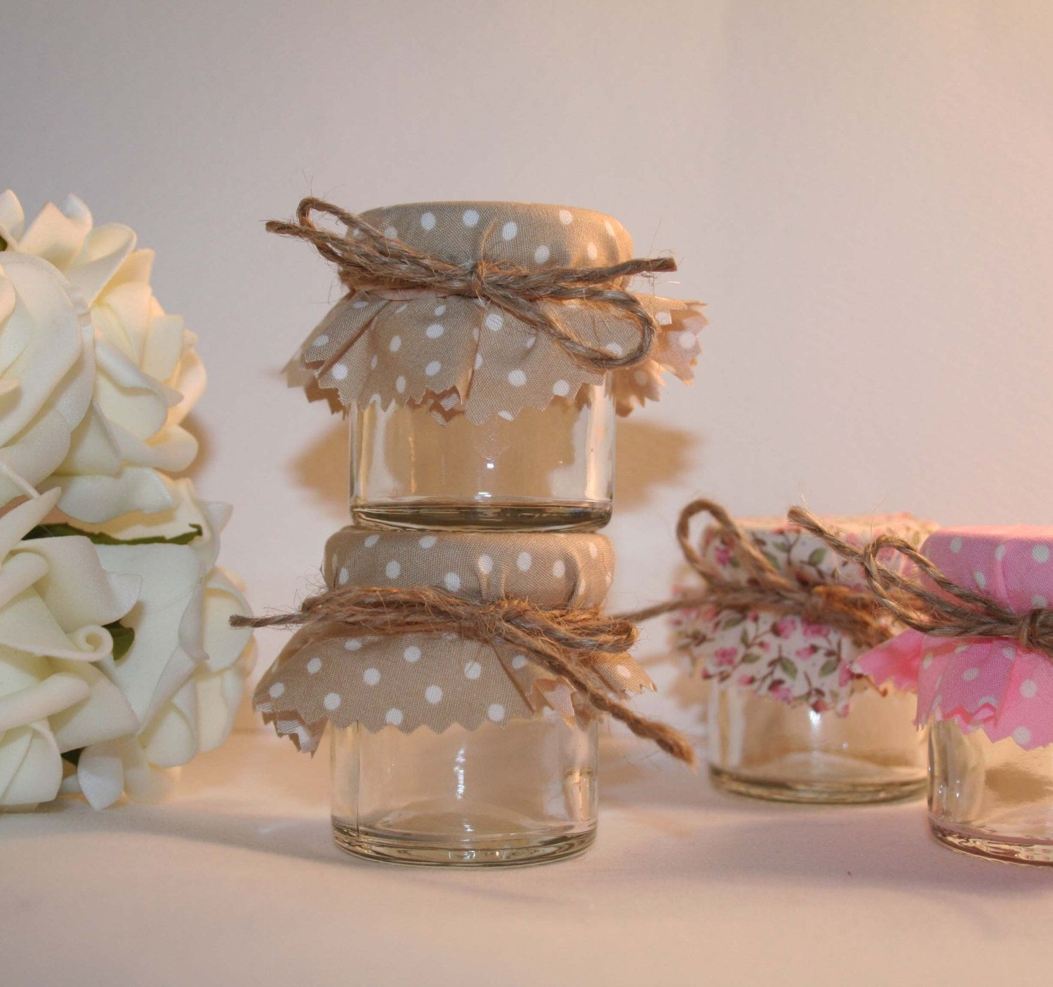 Min Jam Jar Wedding Favours In Beige Polka Dot By Melysweddings 1 15