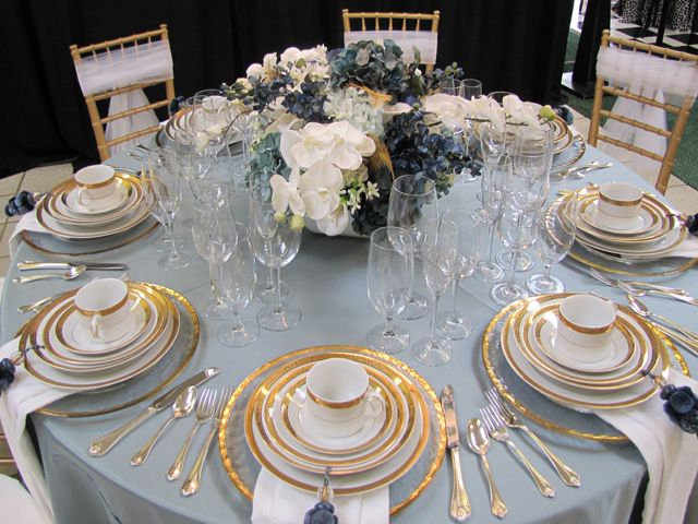Cornflower Blue Gold Wedding Tablescape Blue Gold Wedding