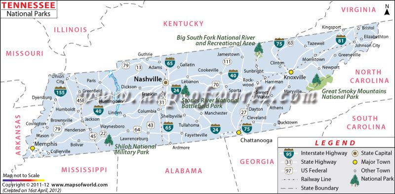 National #Parks in #Tennessee #USA #Map | Travel Destinations ...