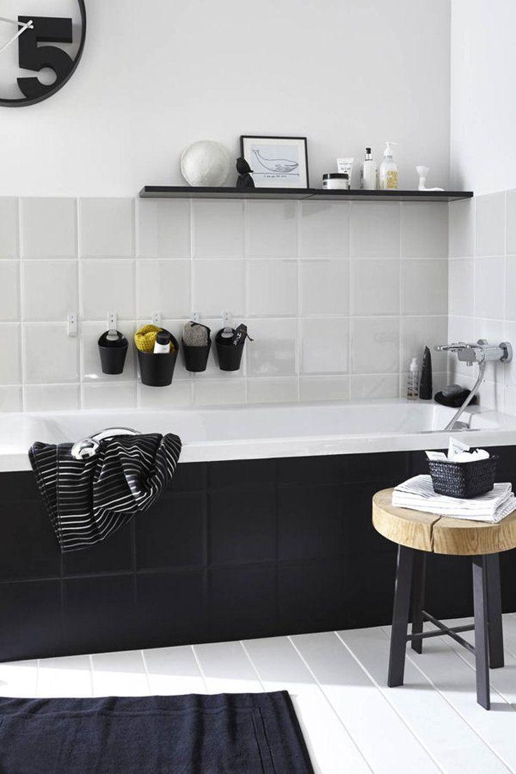 salle de bain noire et blanche salle de bain pinterest salles de bain noires salle de. Black Bedroom Furniture Sets. Home Design Ideas