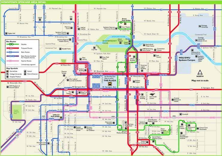 Spokane downtown transport map Maps Pinterest