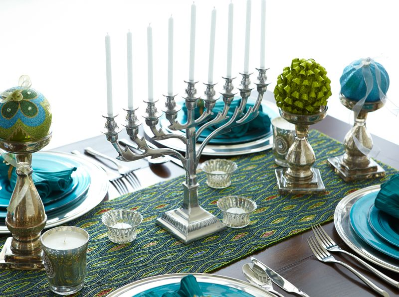 Pin By Breeana Ragland On Hanukkah Table Runners Decorating Themes Holiday Tables