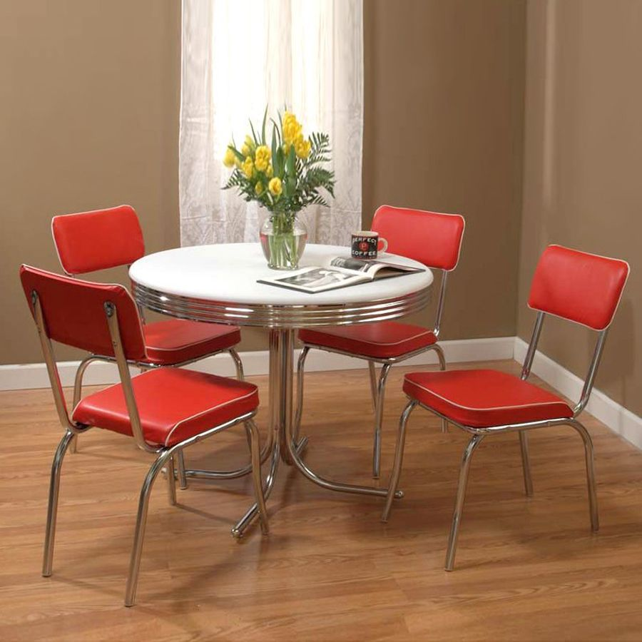 Tms Furniture Retro Red Dining Set With Round Dining Table ...