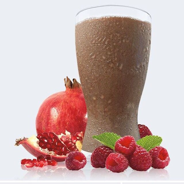 Pom Razzmatazz #Recipe  1 serving Chocolate Vegan Shakeology  1 cup 100% pomegranate juice  ½ cup fresh or frozen raspberries 1 cup ice  Blend.  Get Shakeology at ---> http://exercise2day.com/nutrition/shakeology