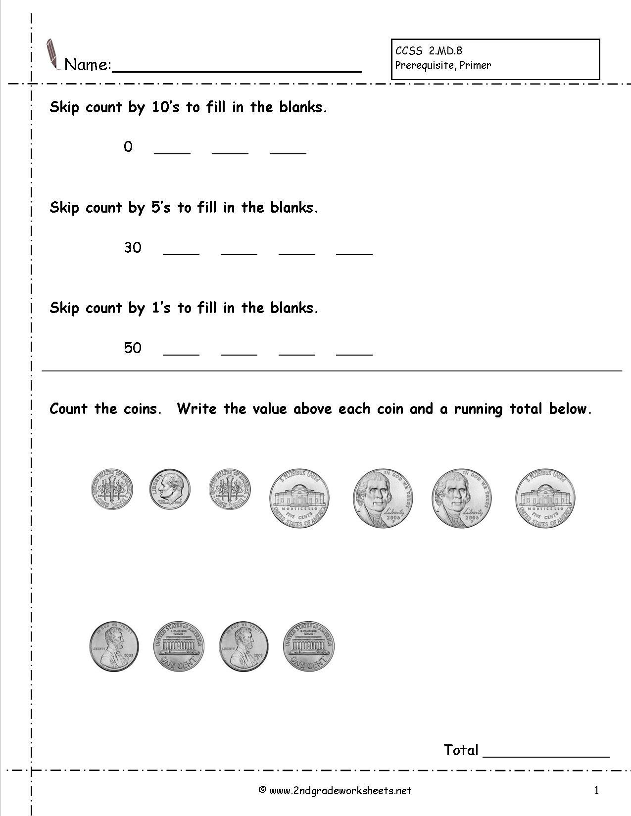 4 Free Math Worksheets Third Grade 3 Counting Money Money
