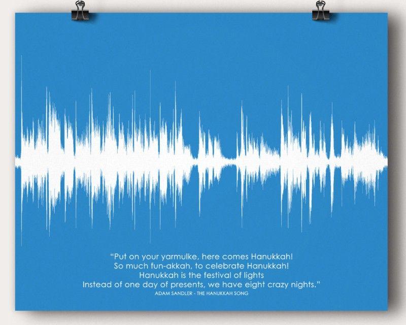 Lyric jewish song lyrics : Jewish Hanukkah Song Sound Wave Man Cave Wall Art Print Poster ...