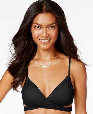 b2e97c02c47e8 Vince Camuto Faux-Wrap Cutout Bikini Top - Black XS   Products ...