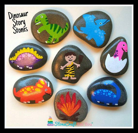 Dinosaur Set Of Story Stones Stone Crafts Story Stones Rock Crafts