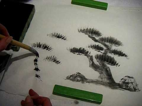 Sumi E Japanese Ink Painting Pine Tutorial Japanese Ink Painting