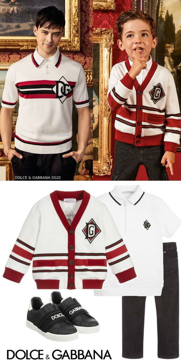 So cute! Love this Dolce & Gabbana Boy Mini-Me DNA Ivory & Red Logo Cardigan Sweater. Daddy & me version inspired by Dolce & Gabbana DG Men's DNA Spring Summer 2020 Collection. Luxury ivory cardigan for boys dark red ribbed trim with black and red stripes, a logo print and a monogrammed badge on the chest. Complete the DG boy mini-me look with a pair of black jeans, a white polo shirt, and sneakers. Shop the look. #dolcegabbana #minime #celebrity #kidsfashion #boysclothes #childrensclothing