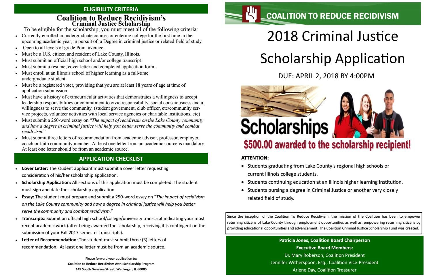 2018 Coalition Criminal Justice Scholarship Application