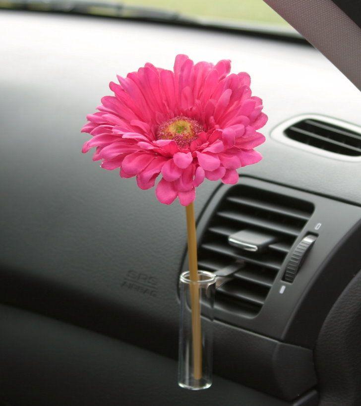 Autovase Red Daisy Flower Volkswagon Beetle Bud Vase Car Vase Pink Daisy Bud Vases