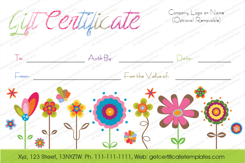 Flowers gift certificate template gifting pinterest for Printable gift certificate template