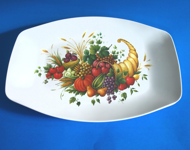 Melamine Fruits Thanksgiving Serving Platter - Melmac Hollywood Horn of Plentyu2026 & Melamine Fruits Thanksgiving Serving Platter - Melmac Hollywood Horn ...