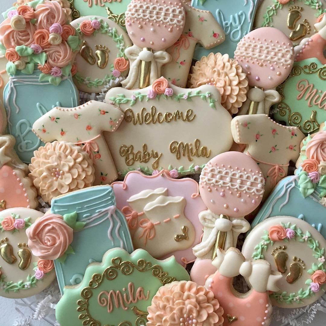 Shabby Chic Vintage Baby Shower Cookies Decoratedcookies Decoratedsugarcookies Customsweet Tea Party Baby Shower Baby Shower Cookies Baby Girl Shower Themes