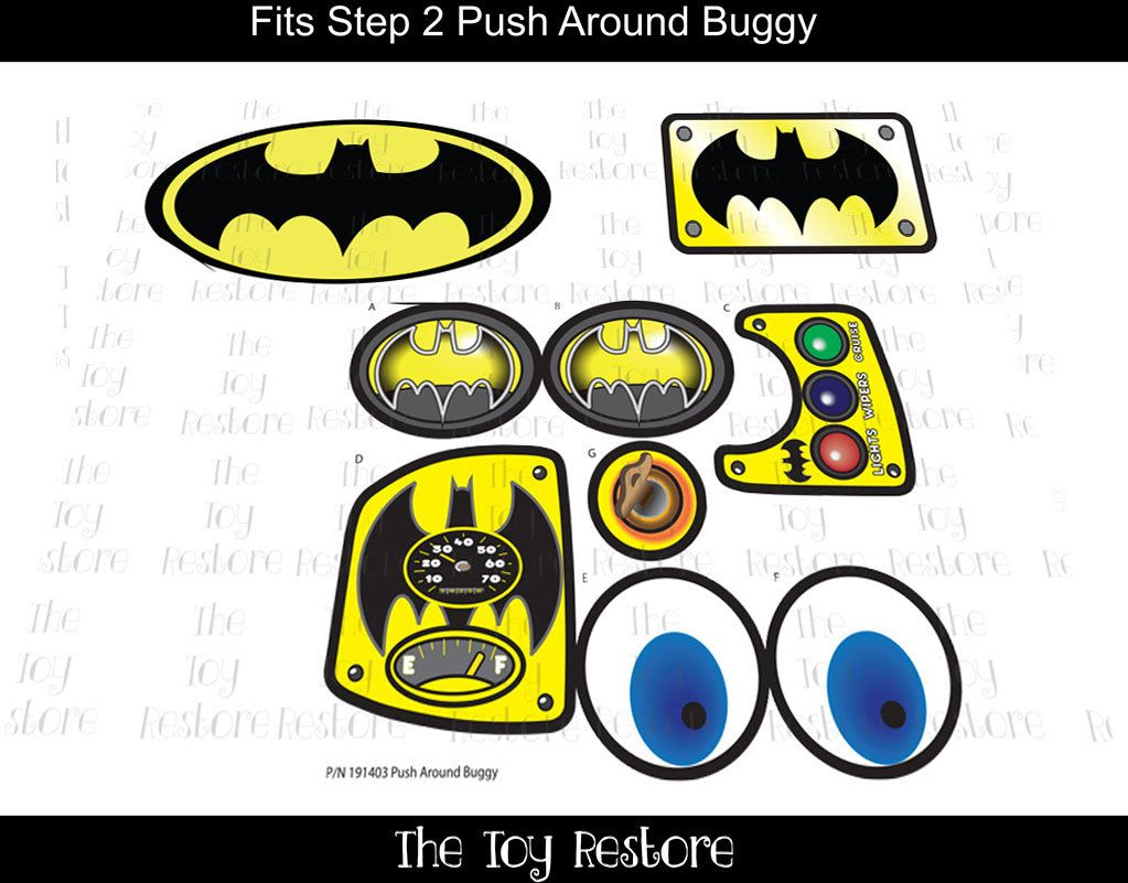 New replacement decals stickers fits step2 push around buggy 2 car wagon batman by thetoyrestore on etsy batmobile