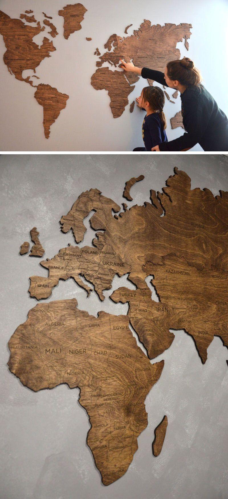 Easy diy room decoration ideas world map design wood