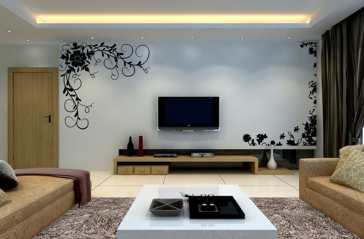 صور تصميمات ديكورات حوائط للتلفزيون 2 Floating Shelves Living Room Small Apartment Living Room Minimalist Living Room