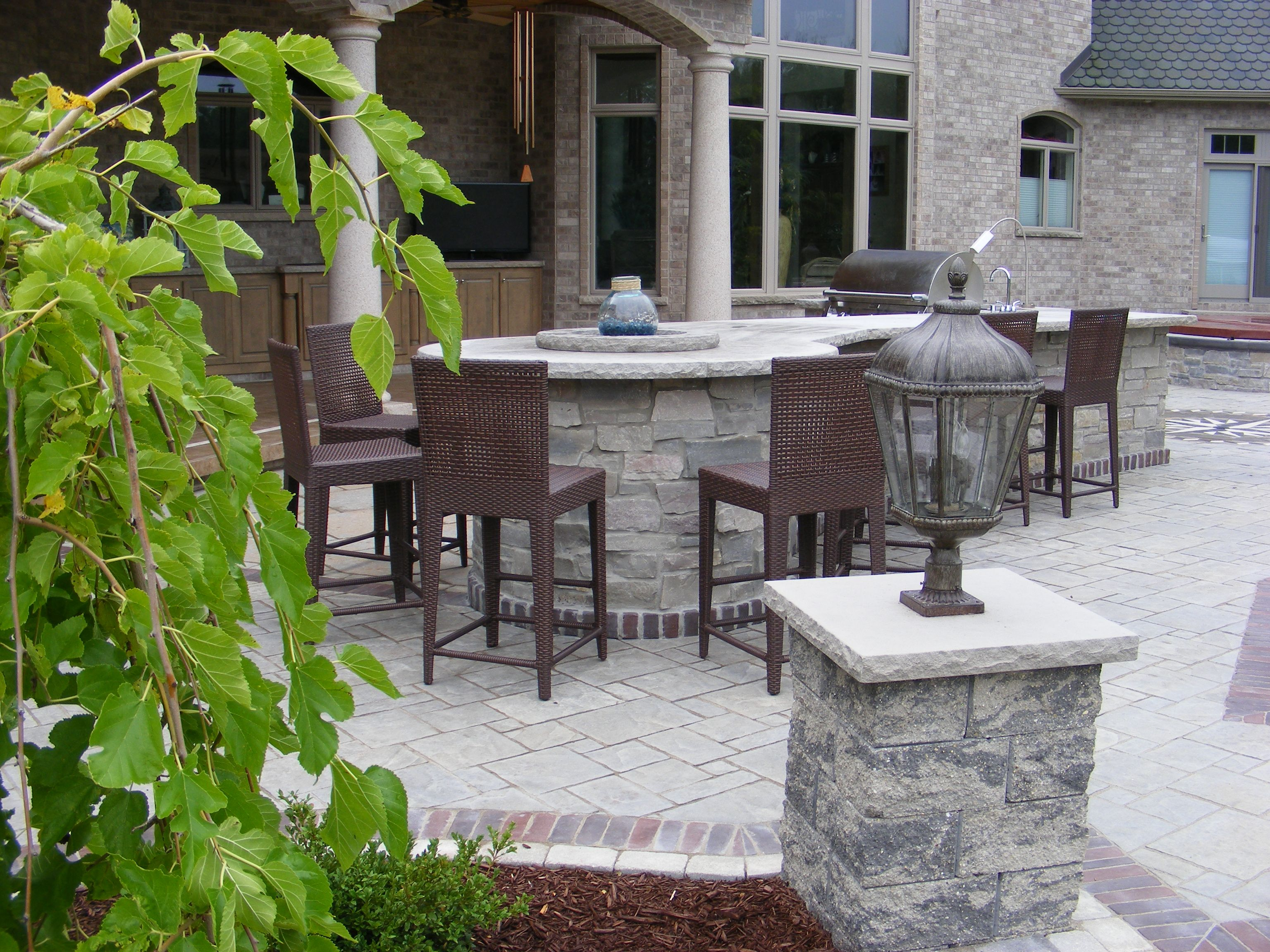Delightful Limestone Counter Tops, Natural Stone Veneer, Paver Patio, Pillars, Outdoor  Bar
