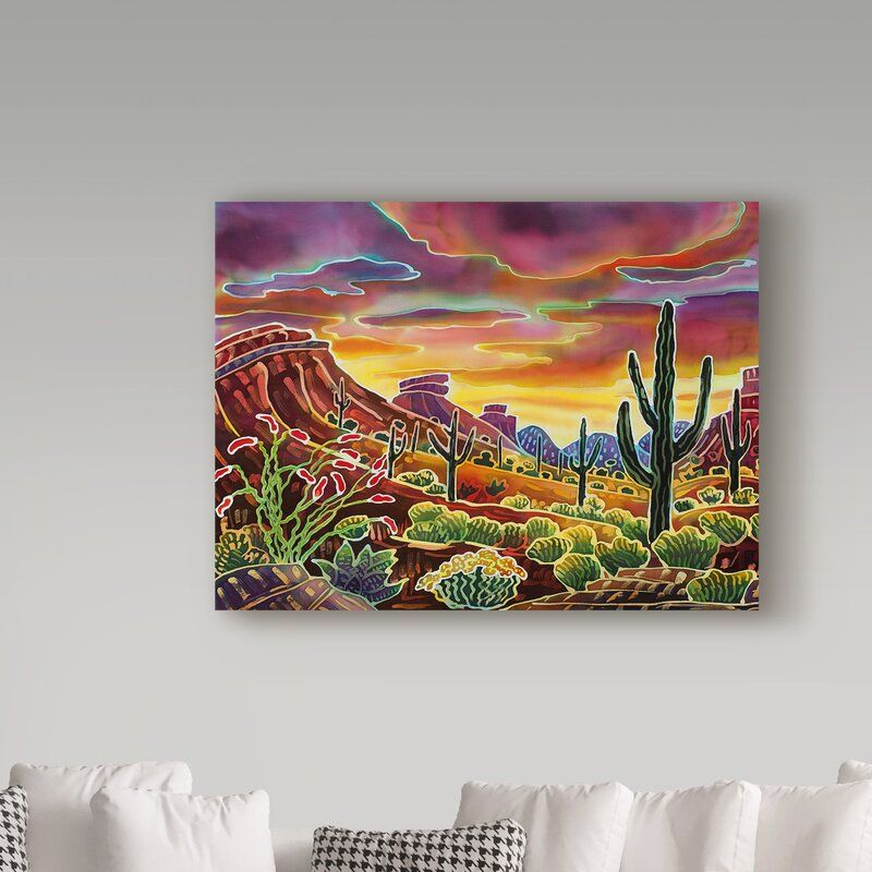 Sonoran Desert Glow Acrylic Painting Print On Wrapped Canvas In 2021 Painting Diy Canvas Art Canvas Painting Diy