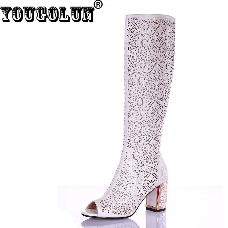 44.58$  Buy now - http://ali2l2.shopchina.info/go.php?t=32266441764 - YOUGOLUN Women Summer Knee High Boots Sexy Ladies Thick Heel(7cm) Peep toe Shoes Elegant White Blue Black Hollow Crystal Heels  #magazineonlinewebsite
