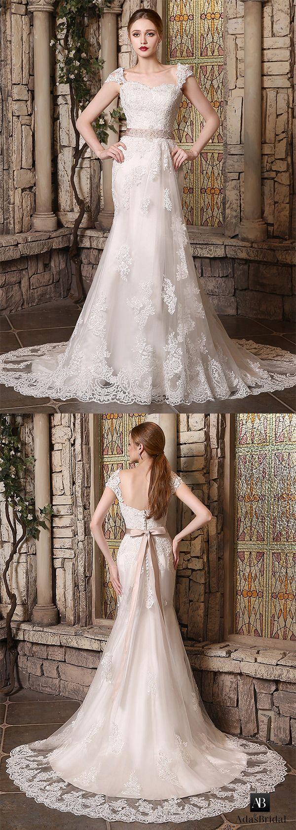 Tulle mermaid wedding dress  Stunning tulle sweetheart neckline mermaid wedding dresses with lace