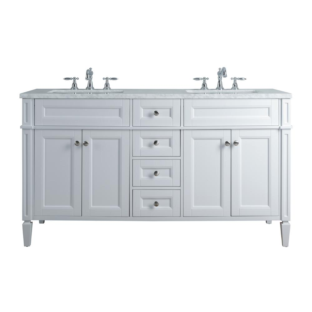 Stufurhome Anastasia French 60 In White Double Sink Bathroom Vanity With Marble Vanity Top And White Basin Hd 1524w 60 Cr The Home Depot Double Sink Bathroom Vanity Bathroom Vanity Double Sink Vanity