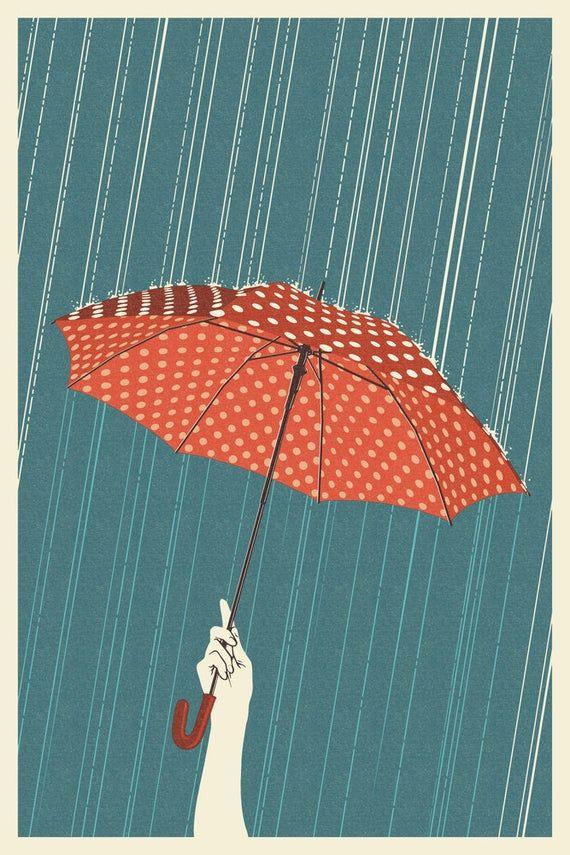 Umbrella  Letterpress 6 Sizes Art Prints Giclees Posters | Etsy