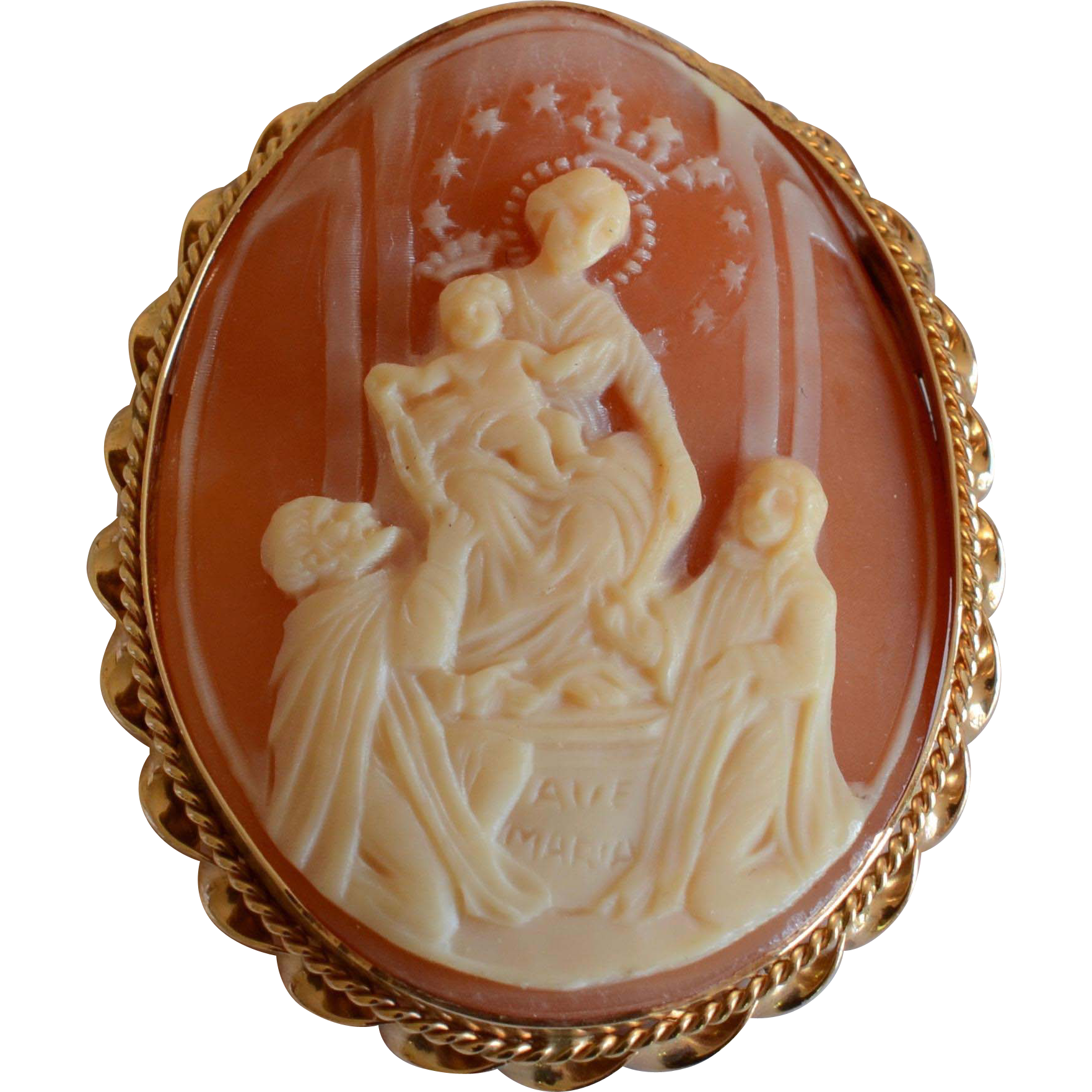 Vintage religious 14k yellow gold curved shell cameo brooch vintage religious 14k yellow gold curved shell cameo broochpendant aloadofball Choice Image