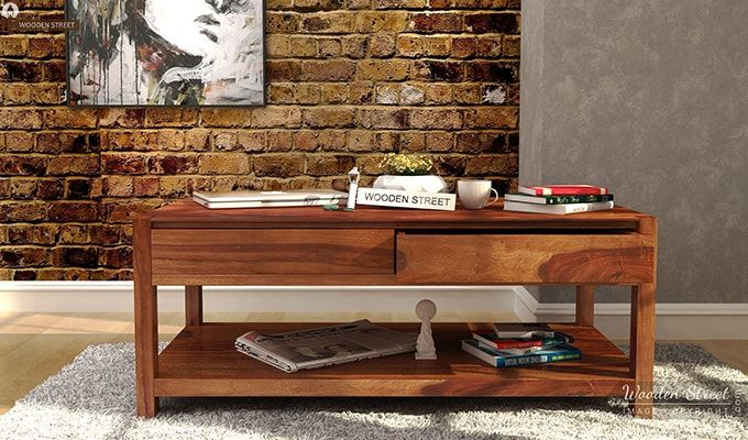 Hutson Coffee Table Teak Finish. Shop Now At Wooden Street #centre #table #